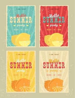 Set retro sommerferienplakate. reise- und ferienweinlese unterzeichnet sammlung. so sommer und das meer werbebanner. beach-party-vektor-design-konzept. motivierende sommeranzeigen und nachrichten.