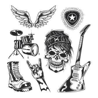 Set rock-elemente (schädel, stiefel, schlagzeug, flügel, gitarre, picks)