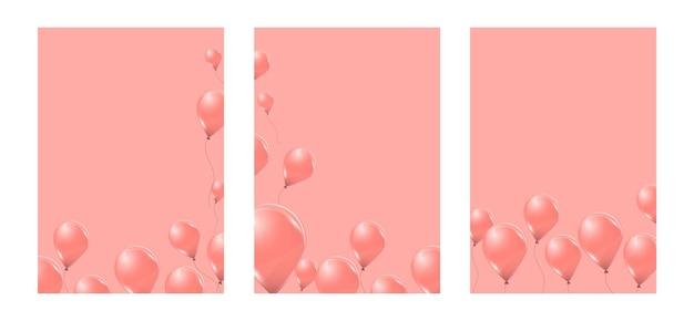 Set rosa heliumballons auf rosa hintergrund