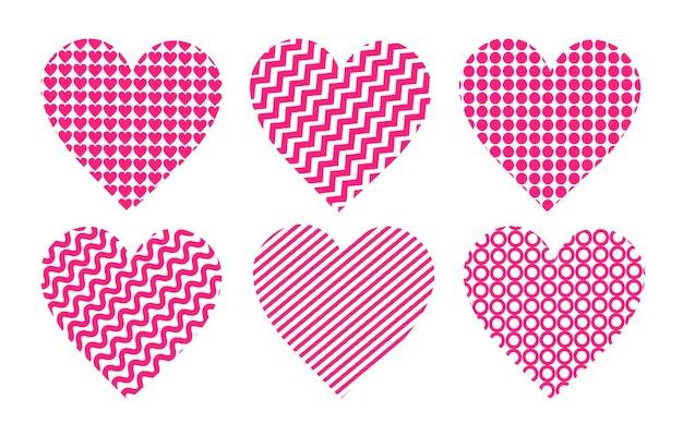 Set rosa herzen valentinstag feier liebe banner flyer oder grußkarte horizontale nahtlose muster