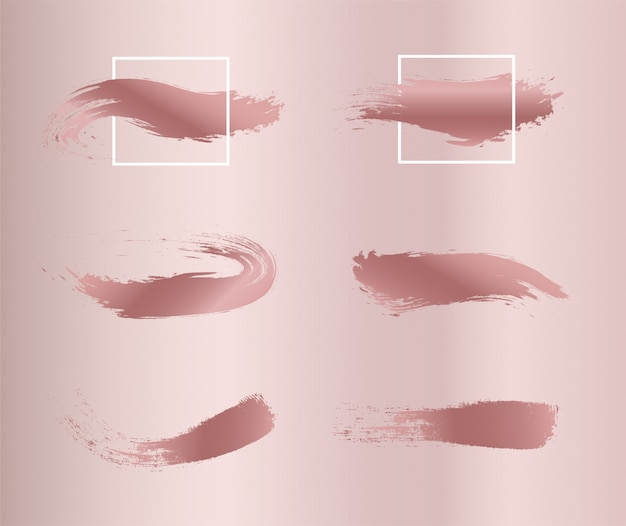 Set rosafarbene lackpinselanschläge.