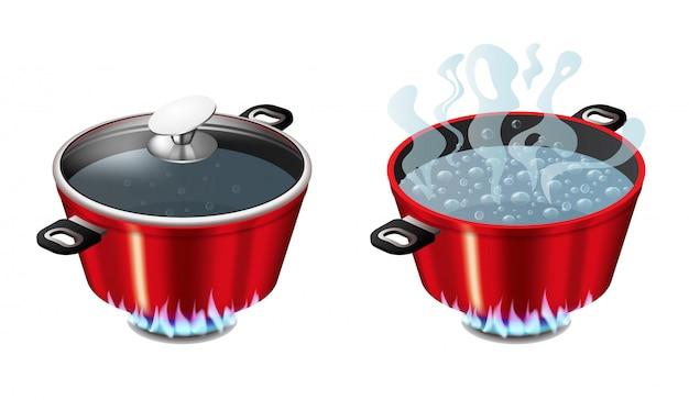 Set rote pfannen mit kochendem wasser, geöffneter und geschlossener pfannendeckel