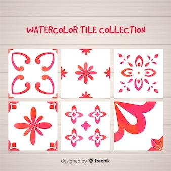 Set rote wtercolor fliesen