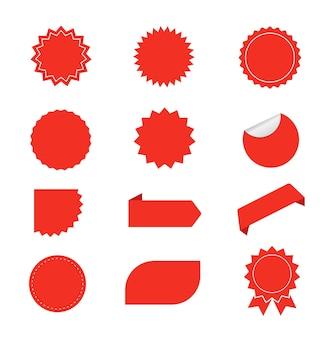 Set roter starburst rote leere aufkleber sunburst-abzeichen-etiketten