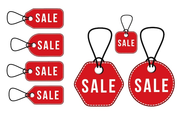 Set rotes verkaufspreisschild