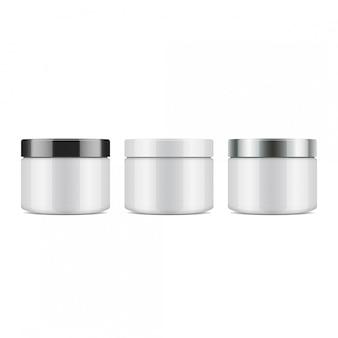 Set runde weiße plastikglas mit deckel für kosmetika. vorlage