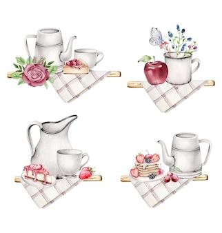 Set rustikales frühstück mit süßigkeiten