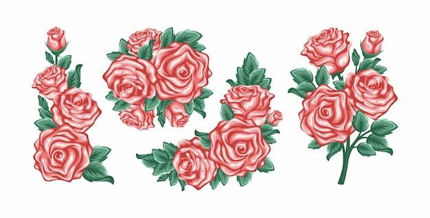 Set sammlung blumen rosen