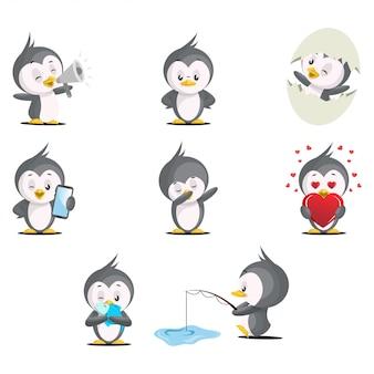 Set / sammlung eines niedlichen pinguins in verschiedenen posen.