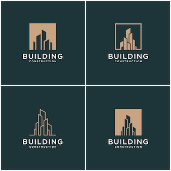 Set sammlung gebäude logo design bundle konstruktion.