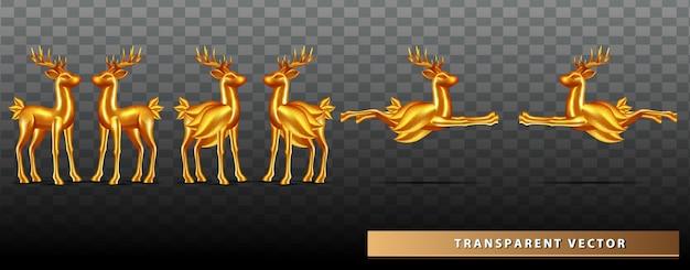 Set sammlung hirsch weihnachten gold transparenten hintergrund