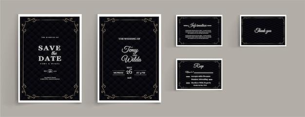 Set sammlung luxus hochzeit briefpapier