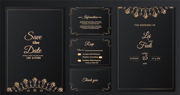 Set sammlung luxus hochzeit einladungskarte vorlage