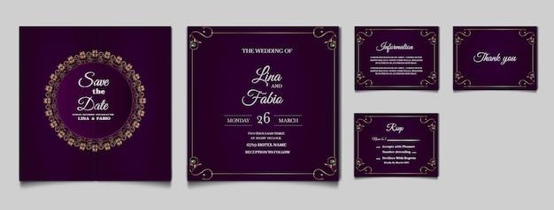 Set sammlung luxus hochzeit einladungskarte