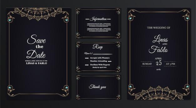 Set sammlung luxus hochzeitseinladung karte design