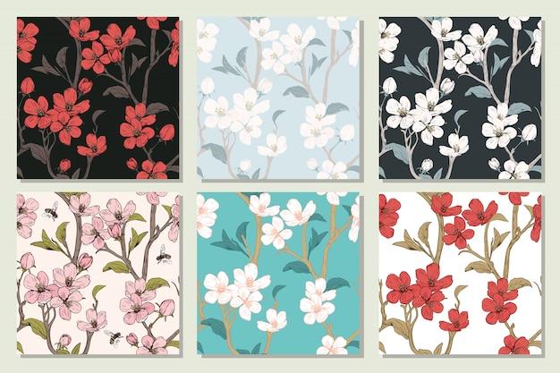 Set sammlung mit nahtlosen mustern. blühende baumblumen. frühlingsblumenbeschaffenheit. hand gezeichnete botanische vektorillustration. kirschblütenzweige
