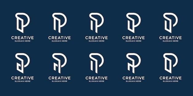 Set sammlung monogramm p logo vorlage kreatives buchstabenzeichen p design kombiniert mit strichzeichnungen stil elegantes monogramm identität corporate einfach premium-vektor