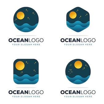 Set sammlung ozean logo design