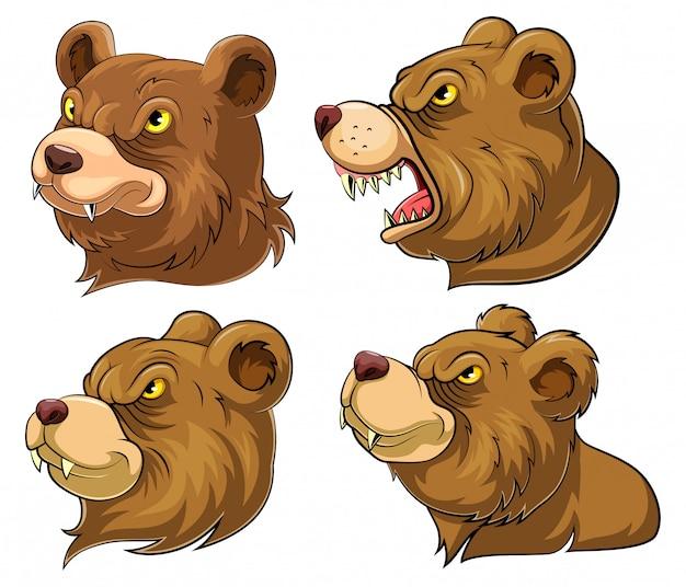 Set sammlung von bärenkopf maskottchen