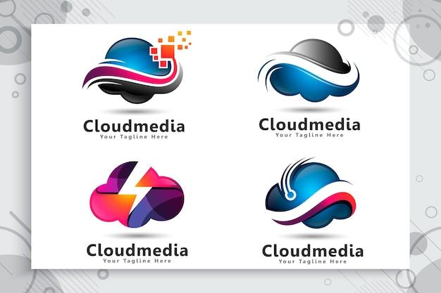 Set sammlung von cloud-daten-logo