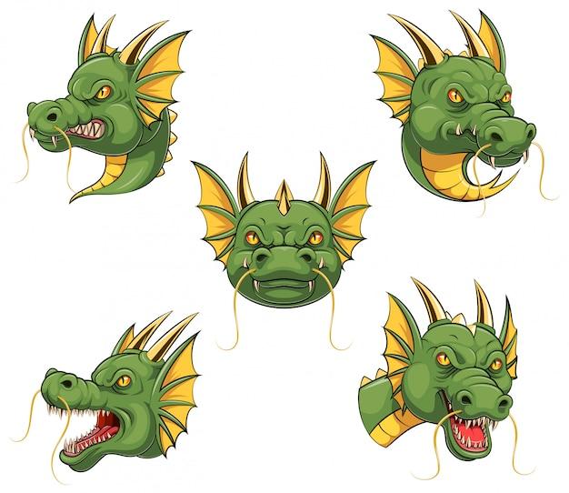 Set sammlung von dragon head maskottchen