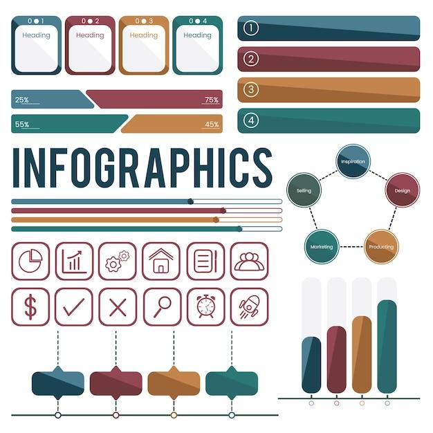 Set sammlung von infografiken