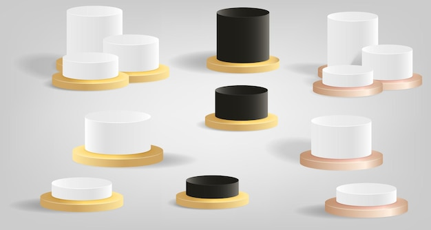 Set sammlung von podium bühnenplattform für produktanzeige metallfarbe vorlage 3d mockup
