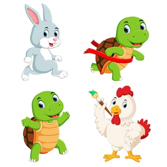 Set sammlung von schildkröten, kaninchen und hühnern