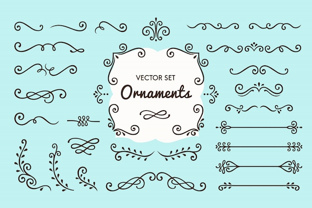 Set sammlung von vintage ornament elemente