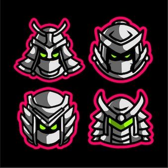 Set samurai maskottchen gaming-logo