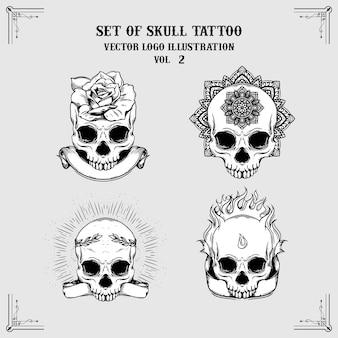 Set schädel tattoo mascot logo illustration