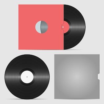 Set schallplatte und hülle für platte retro-tonträger platte für dj scratch