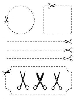 Set schere mit schnittlinien flacher stil