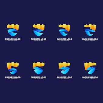 Set schildschloss-logo, schild und schloss, kombinationslogo mit 3d-farbstil in blau und gelb