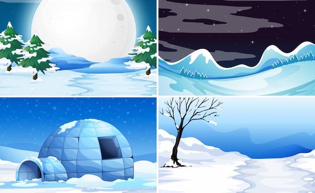 Set schnee hintergrund