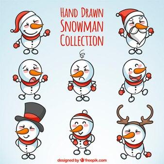 Set schneemänner schöne handgezeichnete weihnachten elemente