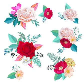Set schöne blumensträuße mit rosen und dornenblüten im aquarellstil