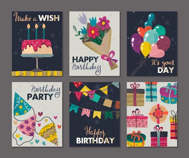 Set schöne bunte geburtstagseinladung oder grußkarten mit ballons kuchen geschenkboxen
