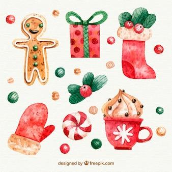 Set schöne dekorative weihnachtselemente
