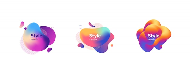 Set schöne mehrfarbige abstrakte dynamische formen