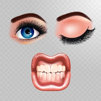 Set schöne weibliche augen mit verlängerten wimpern und glänzendem mund mit glänzenden lippen. grinsende zähne.