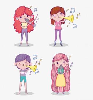 Set schönheit mädchen spielen trompete instrument und gesang