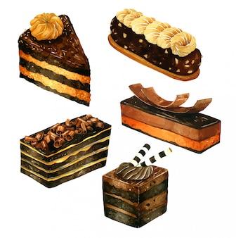 Set schokoladenkuchen im aquarell