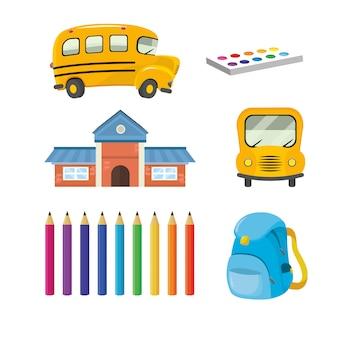 Set schule mit bus und bildungsutensilien