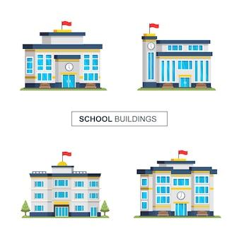Set schulsammlung home architect illustration gebäude hintergrund