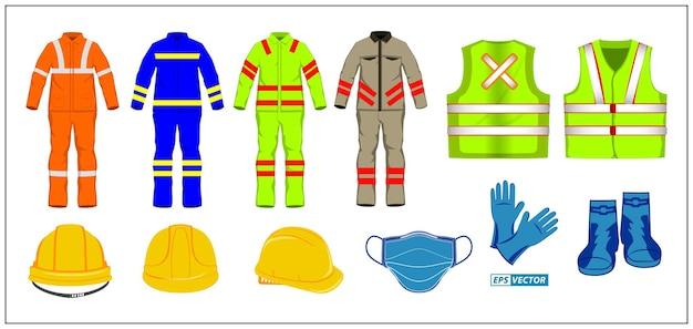 Set schutzkleidung oder weste, sicherheitsweste oder professionelle weste, bauuniform