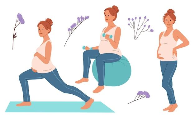 Set schwangere frau geht in den sport