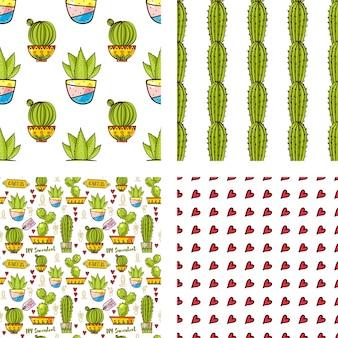 Set seamless pattern von kakteen und sukkulenten in töpfen.