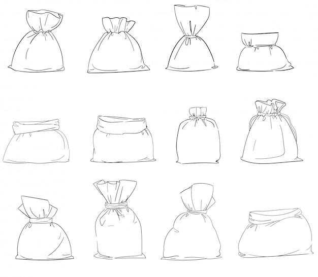 Set segeltuchtasche. sackleinen sack lokalisierten weißen hintergrund. illustration