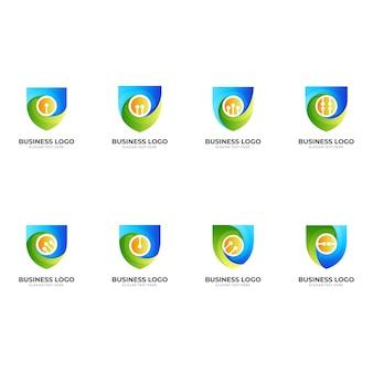 Set shield tech logo, schild und technologie, kombinationslogo